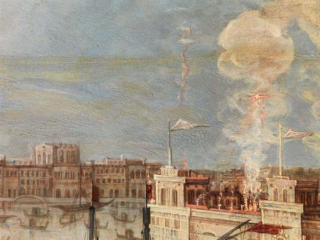 ansicht von venedig anlässlich eines staatsfests mit feuerwerk by louis de caullery