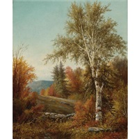 a birch tree by a stone wall by william henry hilliard
