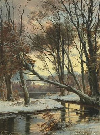 wintry landscape with a stream by carl frederik peder aagaard