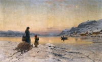winter day by the fjord by frithjof smith-hald