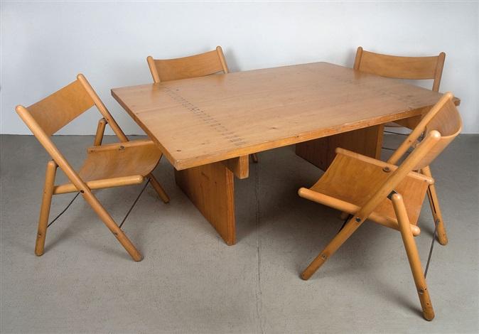 tisch mit stühlen set of 5 by otl aicher