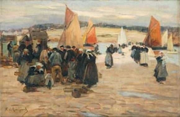 sur le port retour de pêche aux voiles rouges concarneau by fernand marie eugène legout gérard