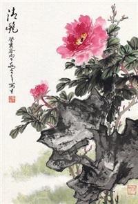 清艳 立轴 设色纸本 by qiao mu