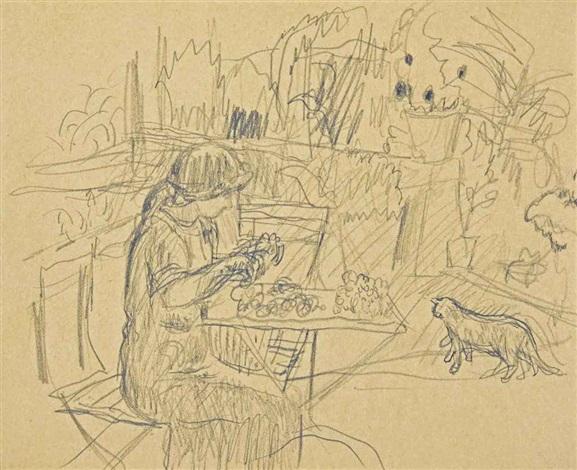femme assise au jardin by pierre bonnard