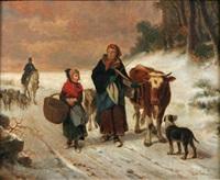 familj med boskap i vinterlandskap by louis simon cabaillot lassalle