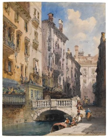 canal barataria, venice by william callow