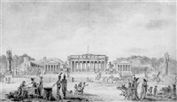 the temples of peace, art and industry on the place de la concorde by jean-baptiste cazin