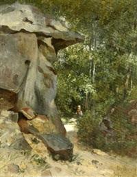 rocher dans la forêt de fontainebleau by charles félix edouard deshayes