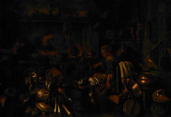 interno di cucina con natura morta di cacciagione verdure e rami by giovanni domenico valentino