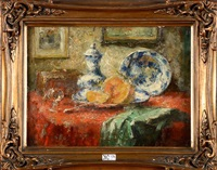 nature morte à l'orange et aux faïences bleues by frans mortelmans
