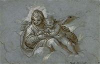 vierge à l'enfant dans les nuées by paolo farinati