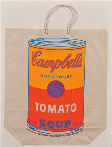 campbells soup can on shopping bag tomato soup by andy warhol