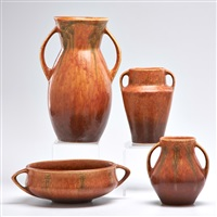 brown windsor center bowl and three two-handled vases (4 works) by roseville