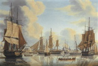 the batavian fleet under vice-admiral carel hendrik verhuell at flushing by engel hoogerheyden