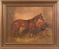 a horse in a stable by alfred grenfell haigh