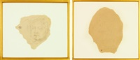 portrait présumé de georges hugnet et portrait charge de leonor fini (2 works) by balthus