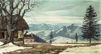 winterliche hügellandschaft mit häusern by leopold hauer