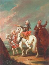 portræt af frederik v til hest, i baggrunden page og rytter by peder als