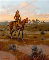 indian at sunset by w. steve seltzer