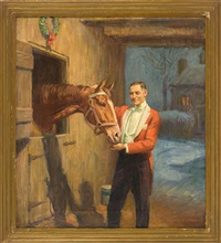 feeding time, depicting a gentleman in a red coat feeding a horse in a stable by howard everett smith