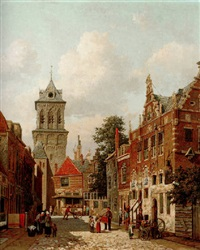 a busy street in a town by willem de haas-hemken