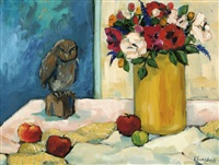 flowers, fruit and a figure on a table by roeli rumscheidt
