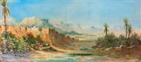 vue de l'oued et des montagnes by pierre auzole