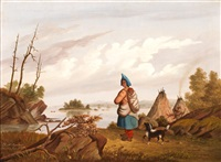landscape with indian by r. mcfarlane