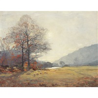 sheep grazing in an autumnal landscape by alexander brownlie docharty