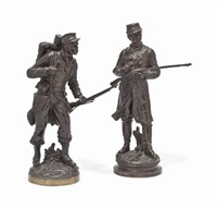 models of soldiers (2 works) by charles anfrie