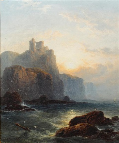 wolfs crag sunset looking to dunallie castle pair by george blackie sticks