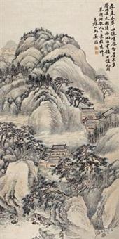夏山古寺图 (ancient temple in summer hill) by jiang jun
