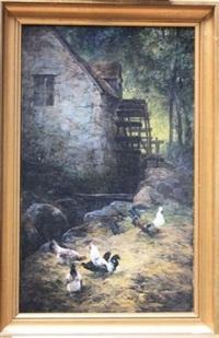 cour de moulin avec poules by hippolyte henri jobard