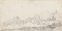 a dune landscape with a cottage to the left and a man and child to the right by jan josefsz van goyen