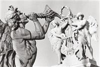boreas der gott des nordwindes und beschützer der stadt athen, zusammen mit genien auf dem dach des wiener burgtheaters by christine de grancy