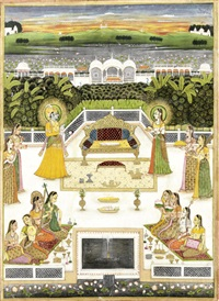 krishna with rukmini on a palace terrace, surrounded by female musicians and attendants by anonymous-indian (19)