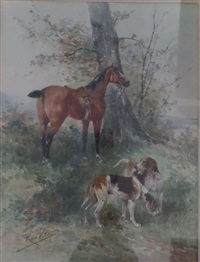 cheval et chiens en forêt by rené valette