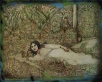 femme étendue dans les fleurs by ghasem hajizadeh