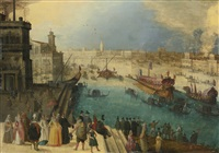 a capriccio view of venice with the bucintoro by louis de caullery