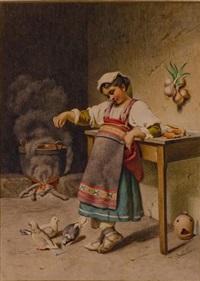 la jeune fille et les pigeons by girolamo nattino