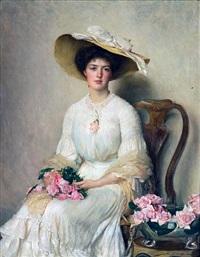 jeune femme aux roses by john henry frederick bacon
