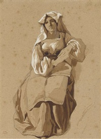une italienne assise, les mains croisées by théodore valerio