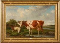 vaches et moutons au pré by louis pierre verwee