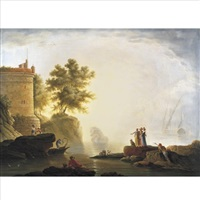 port scene with elegant figures and fishermen by jean henry d' arles