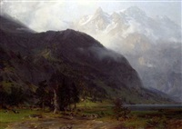 a stroll by an alpine lake by alfred (wilhelm) metzener