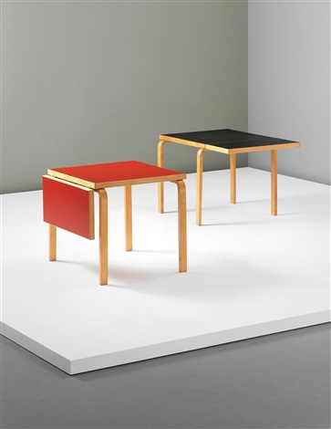 rare extendable l leg tables pair by alvar aalto