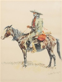 a scout on horseback (from a bunch of buckskins portfolio) by frederic remington