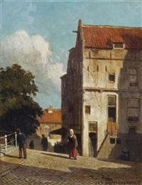 a street in delft by jan weissenbruch