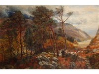 figures and sheep in a woodland with hills beyond by charles thomas burt