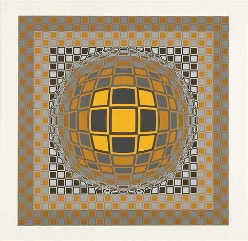 composition cinétique jaune et noir by victor vasarely